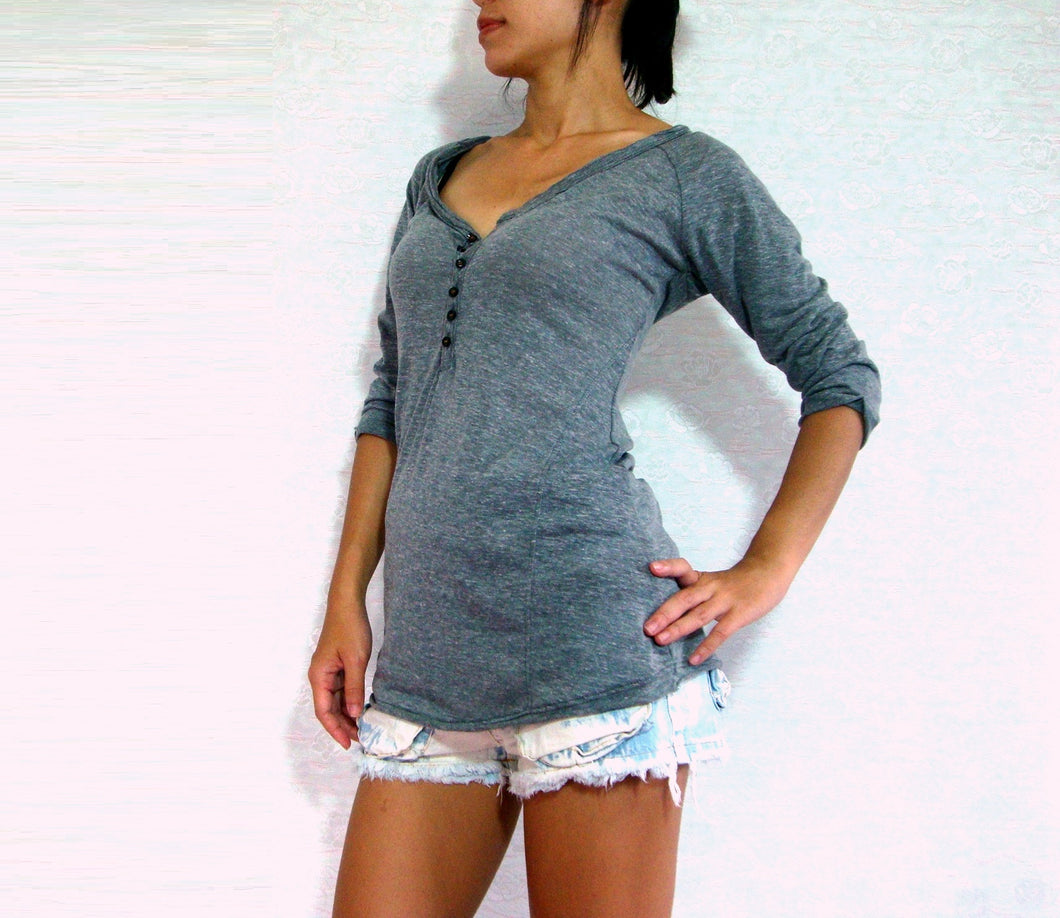 Gray Women Raglan Sleeves Buttoned Top