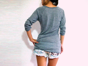 Vneck Gray T-shirt Slim fit for Women Raglan Sleeves