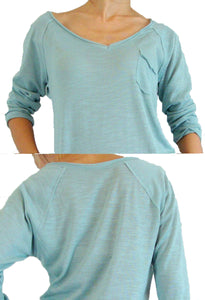 Mint Women Raglan Sleeves Top with Pocket