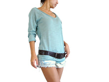 Load image into Gallery viewer, Women V-neck Top Raglan Sleeves Top with Pocket in Mint