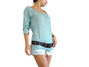 Women V-neck Top Raglan Sleeves Top with Pocket in Mint