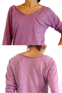 Fuchia Pink Raglan Sleeves Women Top with Pocket