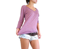 Load image into Gallery viewer, V-neck raglan sleeves women t-shirt with pocket