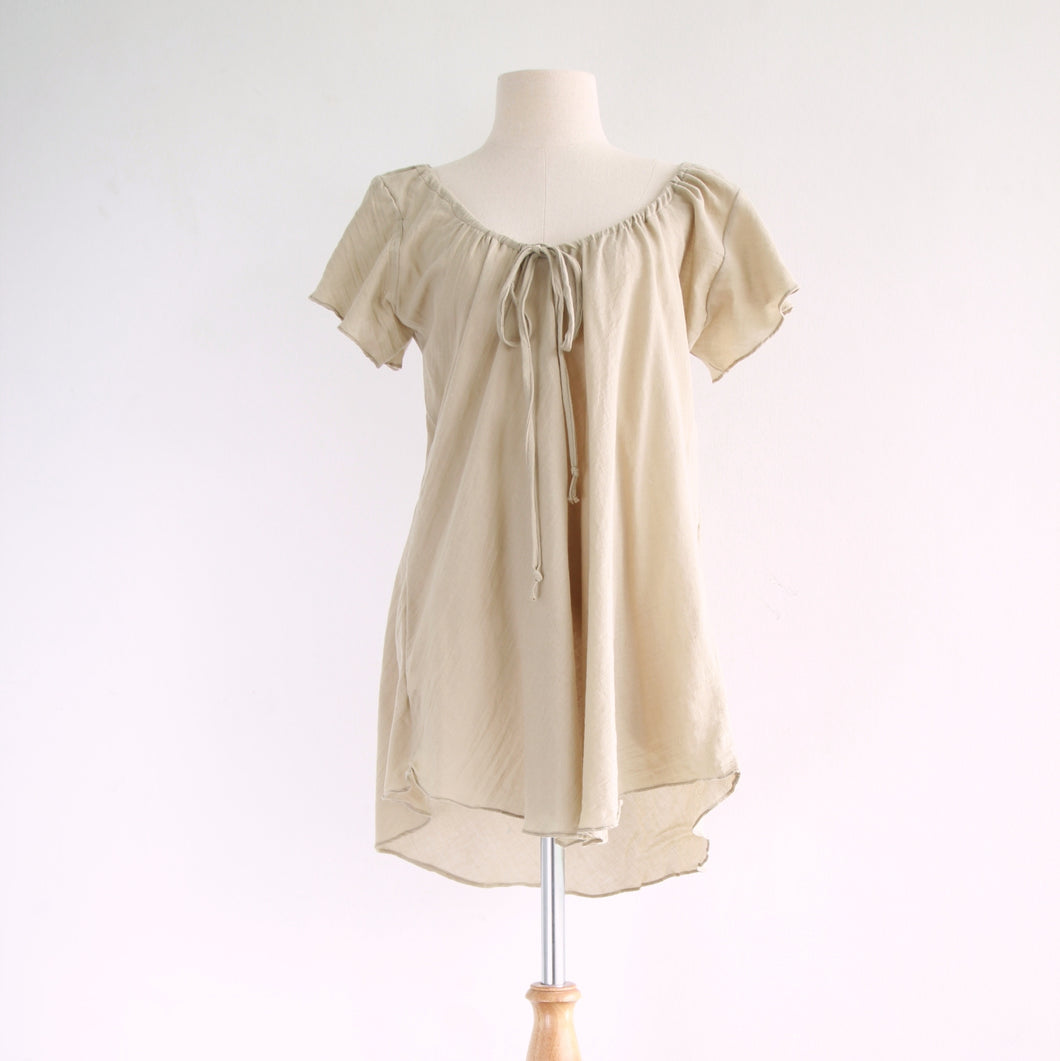 Women Beige A-Shape Loose Cotton Blouse