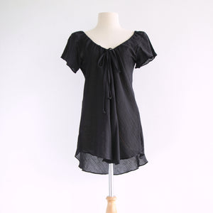 Loose A-Shape Cotton Blouse Dolly Tops - Black