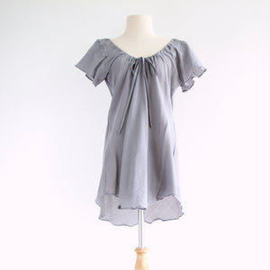 Loose A-Shape Casual Cotton Blouse - Gray