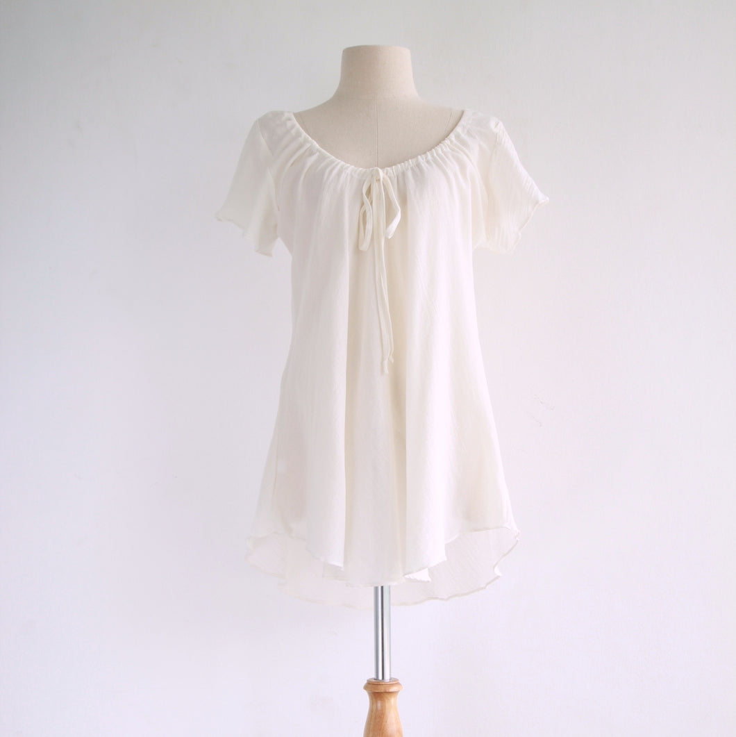 Ivory Cream Cotton Blouse