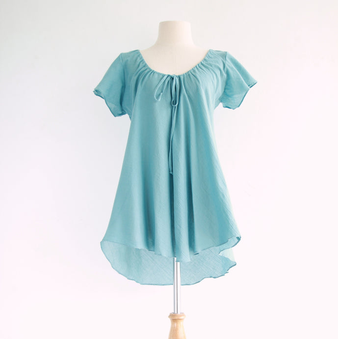 Loose A-Shape Cotton Blouse Dolly Tops in Light Blue