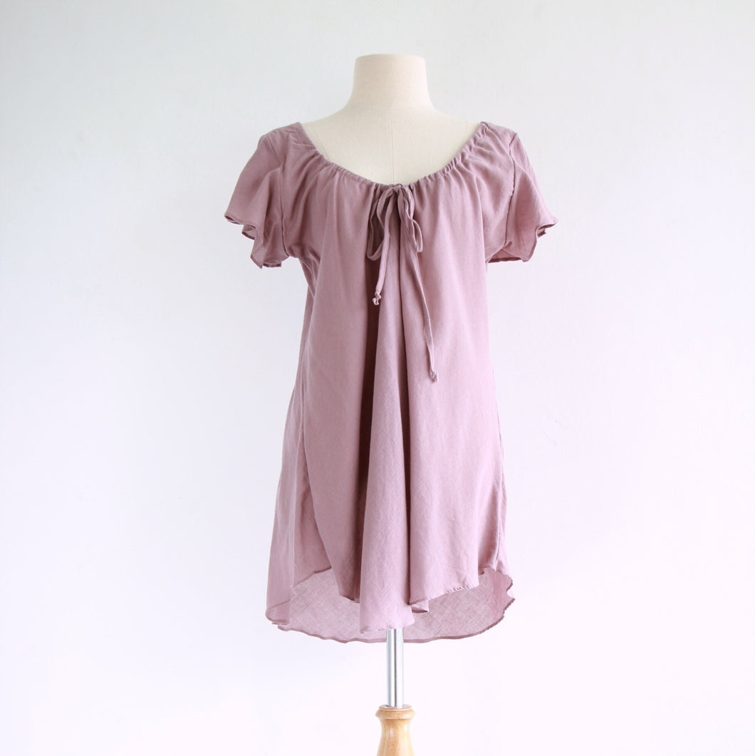 Loose A-Shape Sleeveless Cotton Blouse - Misty Pink