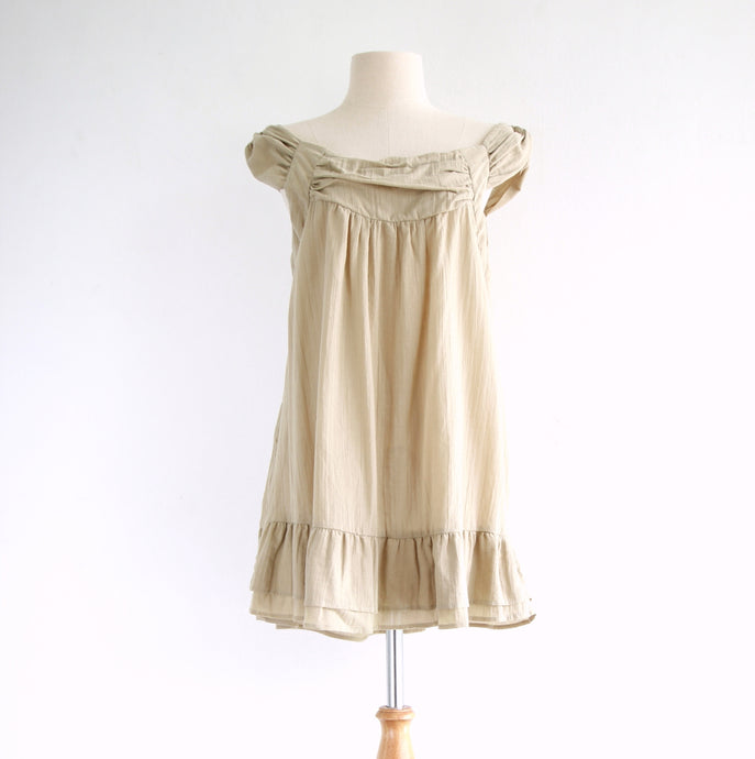 Women Loose Sleeveless Cotton Blouse - Beige