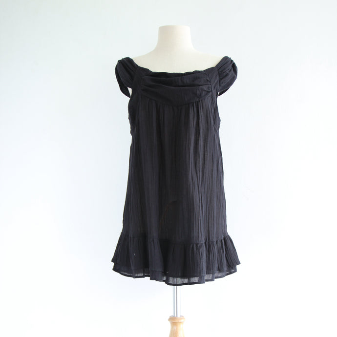 Women Black Loose Cotton Sleeveless Peasant Blouse
