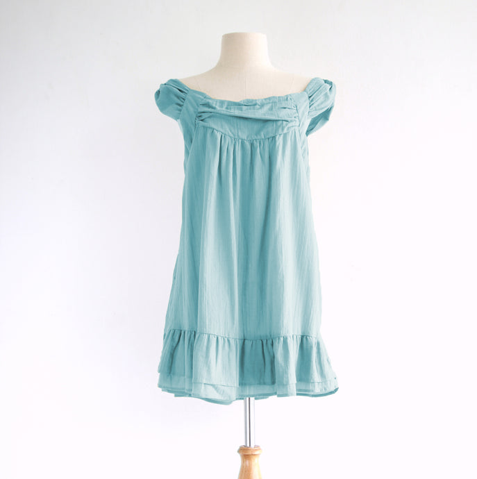 Women Cotton Sleeveless Peasant Blouse Light Blue