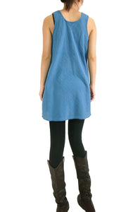 Loose Cotton Sleeveless Blouse with Pockets - Blue