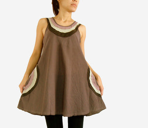 Loose Casual Cotton Sleeveless Blouse with Pockets - Brown