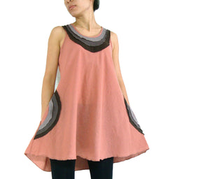 Loose Casual Cotton Tops with Pockets - Peach