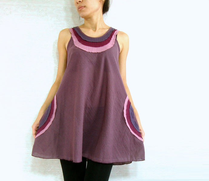 Summer Loose Cotton Sleeveless Tops - Purple Lavender
