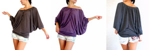 Women Batwing Sleeves Tops Wide Neck Blouse