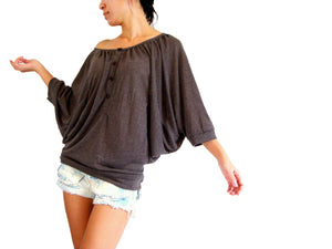 Women Brown Batwing Sleeves Tops Wide Neck Blouse