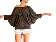 Load image into Gallery viewer, Women Batwing Sleeves Tops Wide Neck Blouse