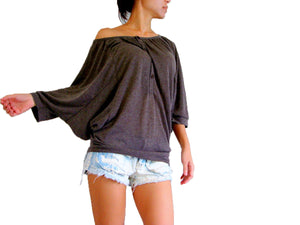 Oversized Brown Batwing Sleeve Tops Wide Neck Blouse