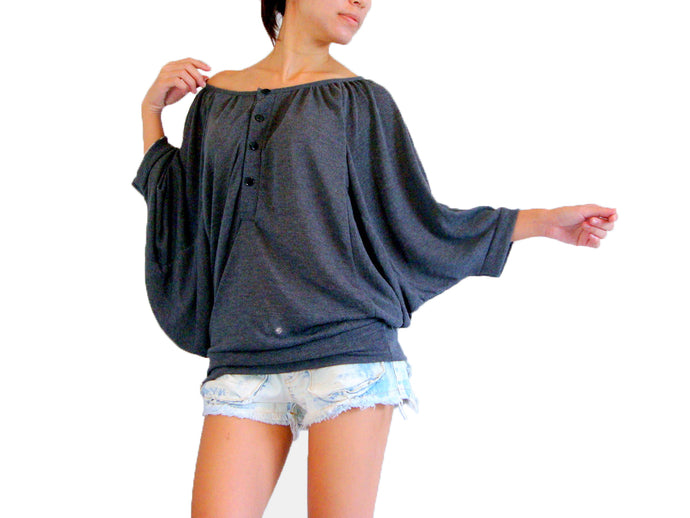 Women Gray Batwing Sleeves Tops Wide Neck Blouse