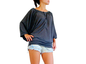 Women Gray Batwing Sleeves Tops Wide Scoop Neck Blouse