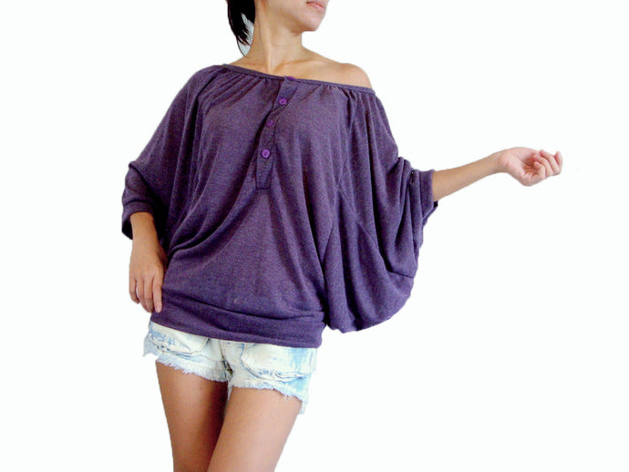 Purple Batwing Sleeves Tops Wide Neck Blouse
