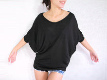 Load image into Gallery viewer, Wide Neck Oversized Black Dolman Sleeves Tops