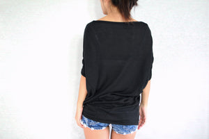 Wide Neck Oversized Black Dolman Sleeves Tops