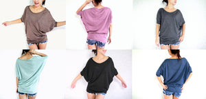 Wide Neck Dolman Sleeves Tops