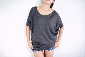 Wide Neck Gray Dolman Sleeves Tops