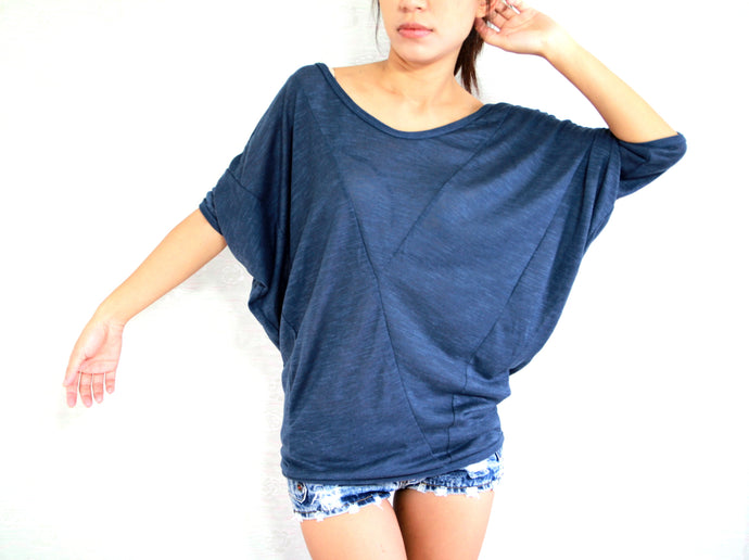 Loose Oversized Women Dolman Sleeves Top in Navy Blue