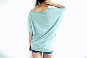 Oversized Women Dolman Sleeves Mint Tops
