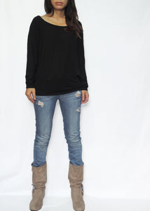 Women Black Jersey Tops Dolman Long Sleeves Tops