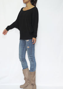 Women Black Jersey Dolman Long Sleeves Tops