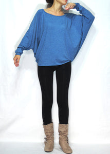 Women Blue Jersey Tops Oversized Dolman Long Sleeves T-Shirt