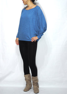 Blue Women Jersey Oversized Dolman Long Sleeves Tops