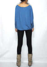 Load image into Gallery viewer, Blue Women Jersey Oversized Dolman Long Sleeves Tops
