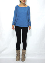 Load image into Gallery viewer, Women Blue Jersey Tops Oversized Dolman Long Sleeves T-Shirt