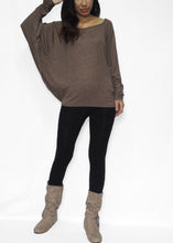 Load image into Gallery viewer, Women Brown Long Dolman Sleeves Tops in Soft Jersey