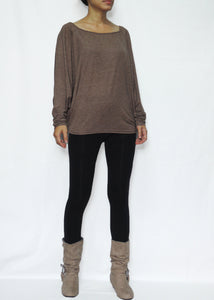 Women Brown Long Dolman Sleeves Tops in Soft Jersey