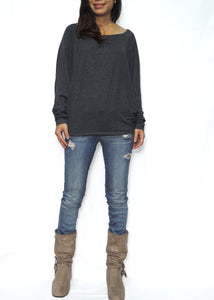 Dark Gray Women Jersey Dolman Long Sleeves Tops