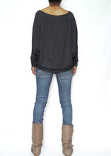 Load image into Gallery viewer, Dark Gray Women Jersey Dolman Long Sleeves Tops
