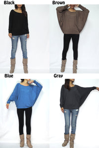 Brown Long Dolman Sleeves Tops in Soft Jersey