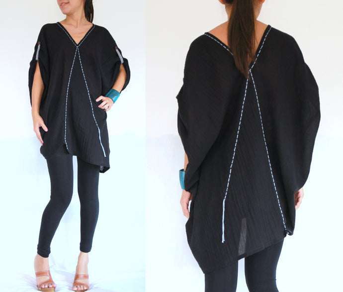 Black Oversized Blouse Plus Size Boho Tops