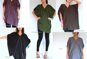 V-neck Oversized Cotton Blouse Plus Size Boho Tops - Brown