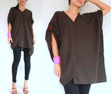 Load image into Gallery viewer, V-neck Oversized Cotton Blouse Plus Size Boho Tops - Brown