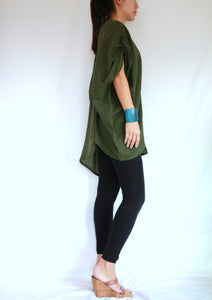 Green Oversized Summer Tunic Plus Size Boho Tops