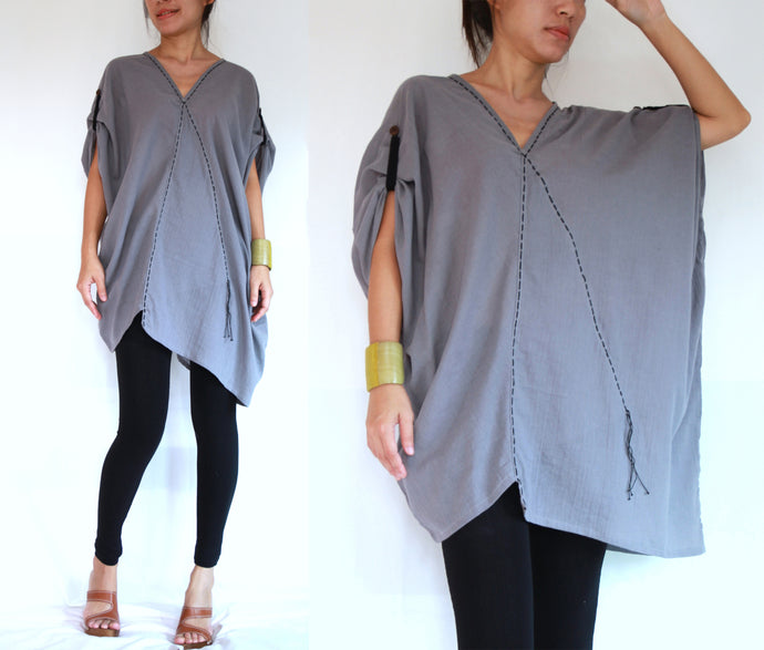 Women Oversized Blouse Summer Cotton Tops - Gray