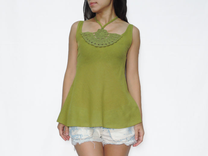 Women Green Cotton Crochet Top Halter Neck Blouse